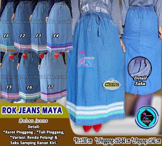 Rok jeans polos murah model payung dan panjang dijual grosir