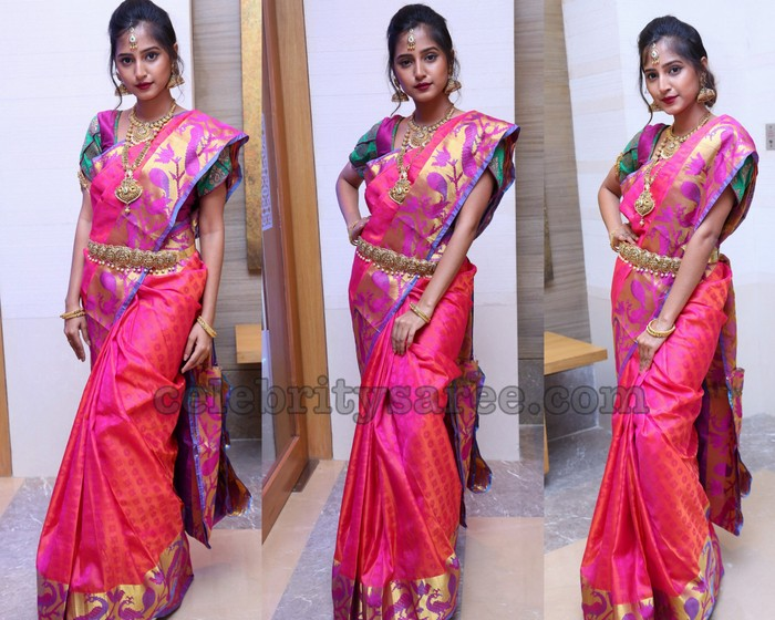 f34f0876cb1934 Model Srusti in pink traditional silk saree with golden zari weave border,  peacocks embellished on the border, simple brocade work embellished all  over and ...