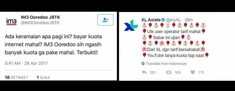 Kicauan XL dan IM3 menyindir Telkomsel