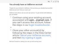 Cara Mengatasi You already have an existing AdSense account Google AdSense