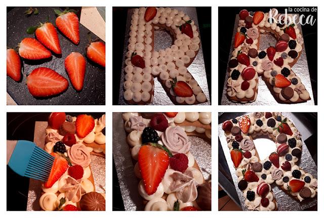 Receta tarta abecedario de galleta y crema: decoración