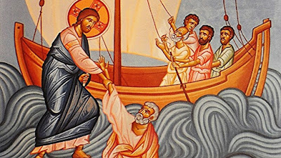 Jesus raising Peter from the water