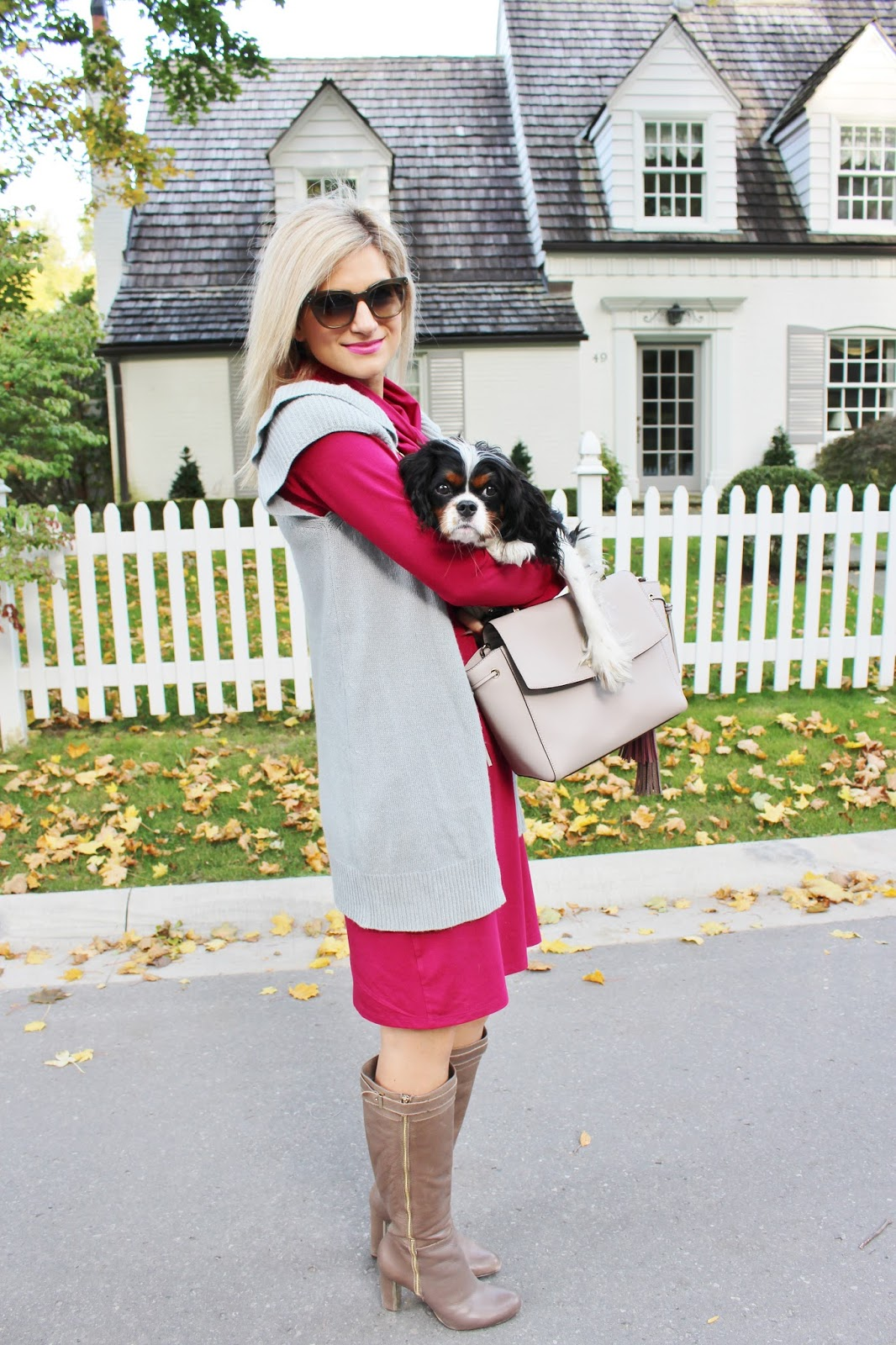 Bijuleni - Miik Cowl Pocket Cranberry Dress with Grey Sweater Vest, Ann Taylor Ankle Boots, Kate Spade handbag, Cavalier King Charles Puppy