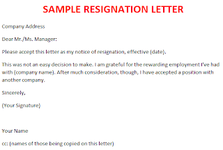Simple Resignation Letter Sample Format - resume examples templates ...