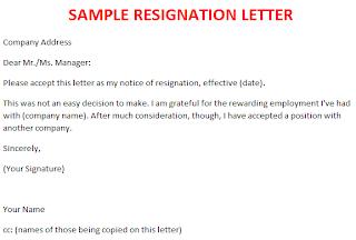 Resignation Letter Sample Format - example of simple resignation ...