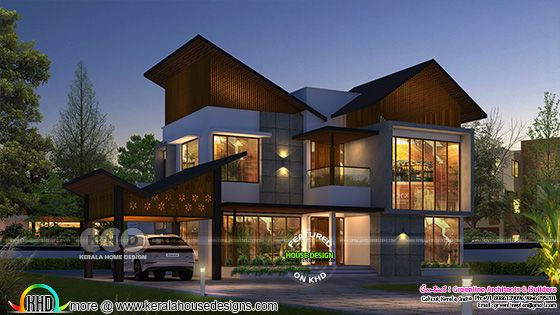 Slanting roof 4 bedroom house rendering