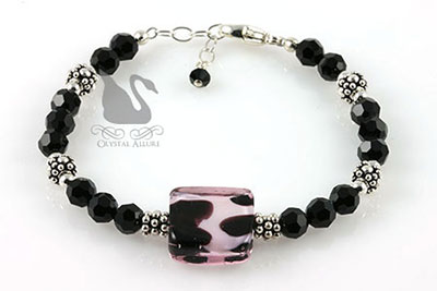 Crystal Animal Print Lampwork Beaded Bracelet (B093)