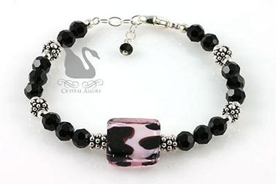 Crystal Animal Print Lampwork Beaded Bracelet (B093)