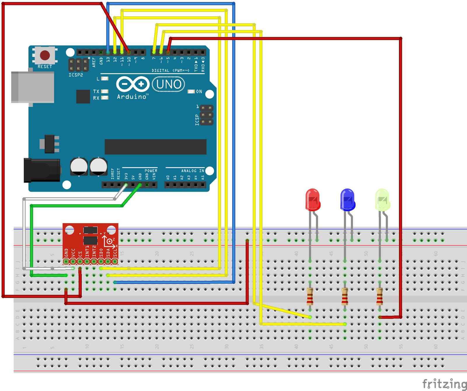 adxl Tutorial Arduino: Conexión y muestra por Serial de un Acelerómetro ADXL345