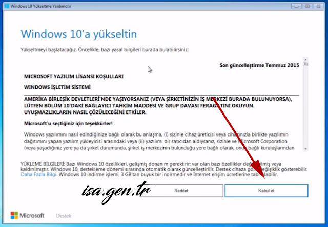 Windows 10'a yükselt