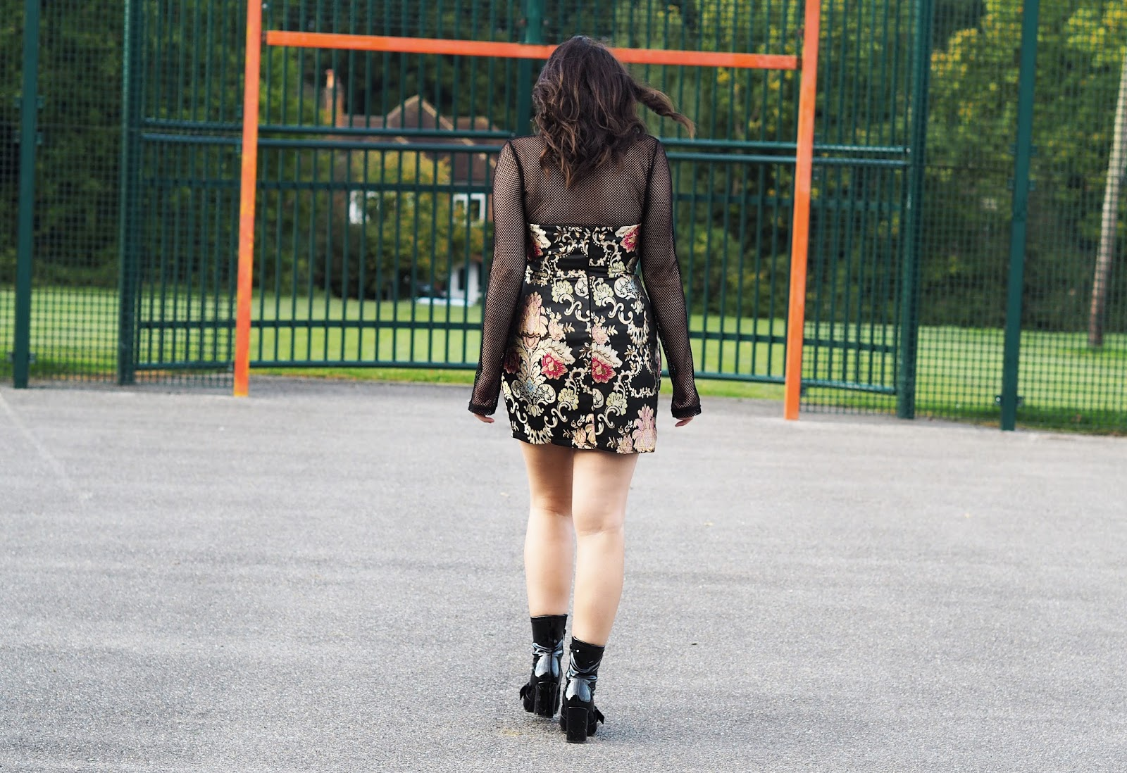 fATE BLACK FLORAL BROCADE BANDEAU DRESS, inthestyle dress, nakd fashion mesh top, nasty gals do it better, 7 things you tell yourself in your twenties, uk fashion blogger