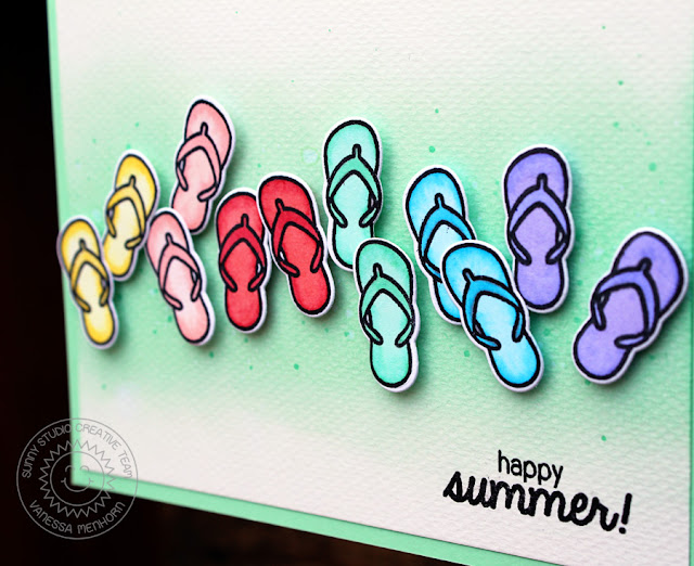 Sunny Studio Stamps: Island Paradise Happy Summer Flip Flops card by Vanessa Menhorn.