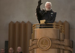 Donald Sutherland as President Coriolanus Snow in The Hunger Games: Catching Fire, Directed by Francis Lawrence