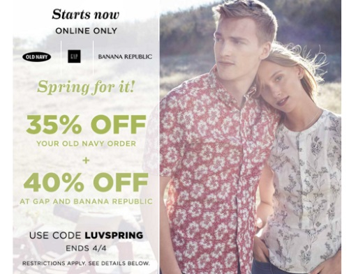 Spring For It Old Navy 35% Off + 40% Off Gap & Banana Republic Promo Code
