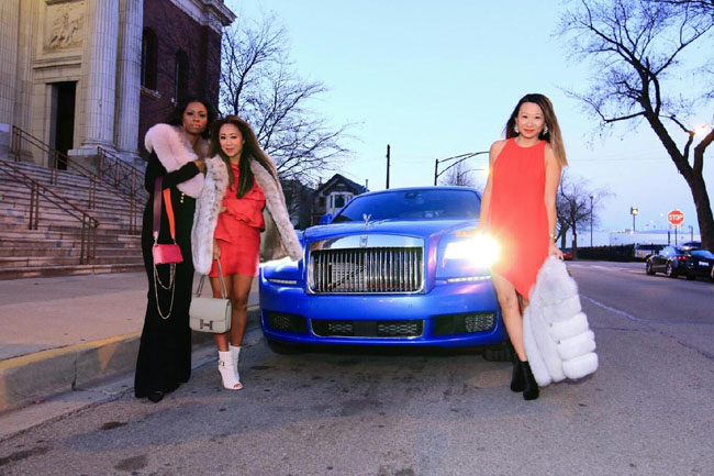 How to wear a Red Dress, Rolls Royce Ghost Chicago, Neiman Marcus Rolls Royce Event Chicago