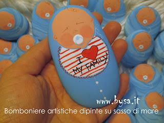 bomboniera artistica di un baby con ciuccio disegnato a mano