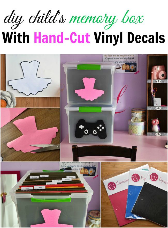 Diy Child's Memory Box with Hand-Cut Vinyl Decals - you don't need a machine to cut vinyl for this simple but very necessary organizing project for parents! #crafts #organization