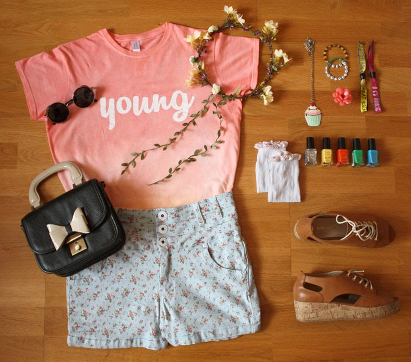 festival inspired band t-shirt fashion outfit flat lay from the high street