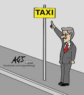 michele emiliano, d'alema, scissione PD, taxi, satira, vignetta