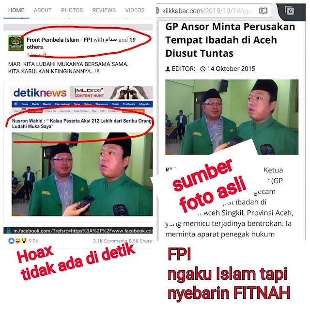 "Lagi, Fanpage Resmi FPI Sebarkan Fitnah Hoax ""Ludahi Nusron Wahid"""