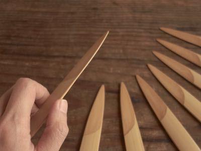 ササノハナイフ 白竹と漆で