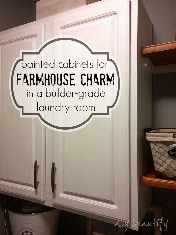 Adding Farmhouse Charm To Laundry Room With Painted Cabinet And Shelves Diy Beautify