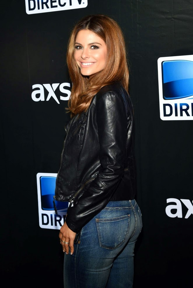 Maria Menounos in denim jeans and a leather jacket at the DirecTV Super Saturday Night in Glendale