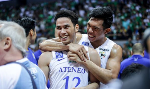 Thirdy Ravena and Matt Nieto celebrate Ateneo's victory over La Salle in Game number 3