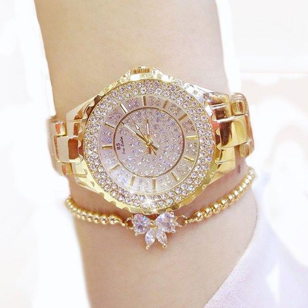 Women Watches Luxury Brand New Geneva Ladies Quartz Rhinestone Wrist Clock Female, Dress