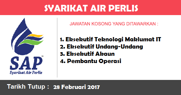 Jawatan Kosong di Syarikat Air Perlis (SAP)