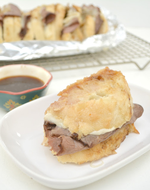 herb butter french dip sandwich
