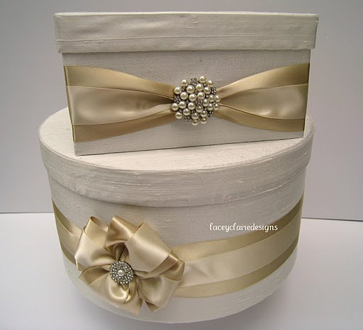 Cream Card Box With Diamantes And Brooches For That Shiny Yet Stylish Look