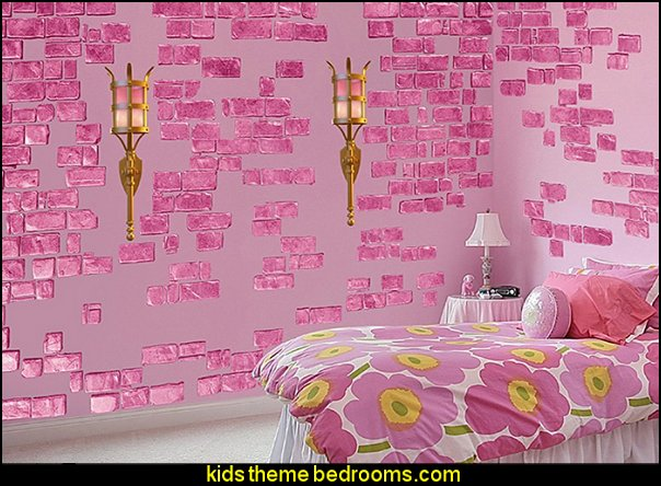 Pink Castle Brick Wall Decals Princess Style Bedrooms