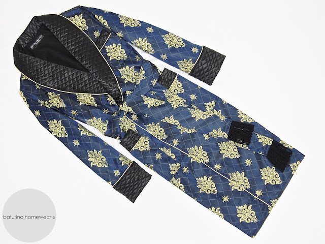 Men's navy blue and gold paisley robe quilted dressing gown