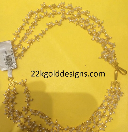 Small Pearls Gold Champaswaralu 22kgolddesigns