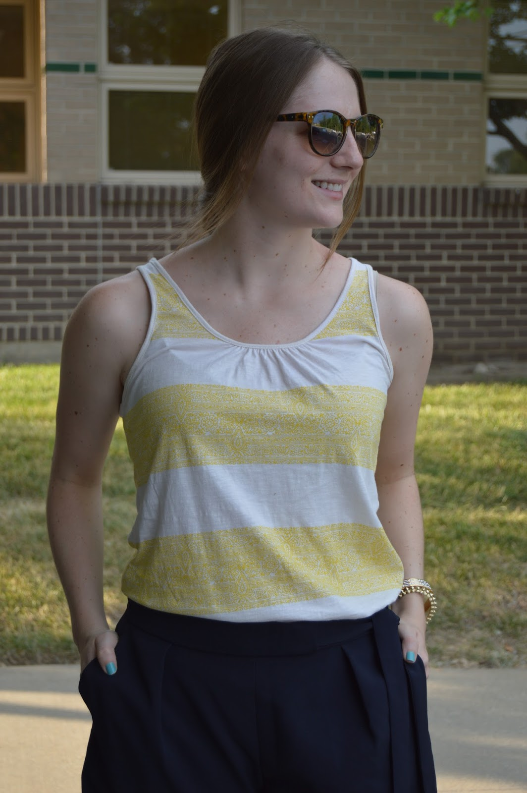 navy and yellow outfit ideas | yellow striped tank top | summer outfit ideas | preppy outfit ideas |  a memory of us | kansas city fashion | summer date night looks | classy navy shorts | summer date night outfit idea with shorts |