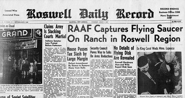 periódico de roswell del 8 de julio de 1947 anunciando la captura de un platillo volante