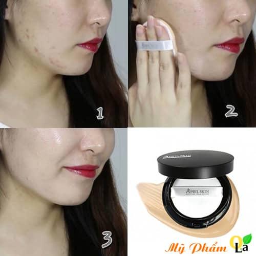 Trước và sau khi sử dụng Phấn Nước April Skin