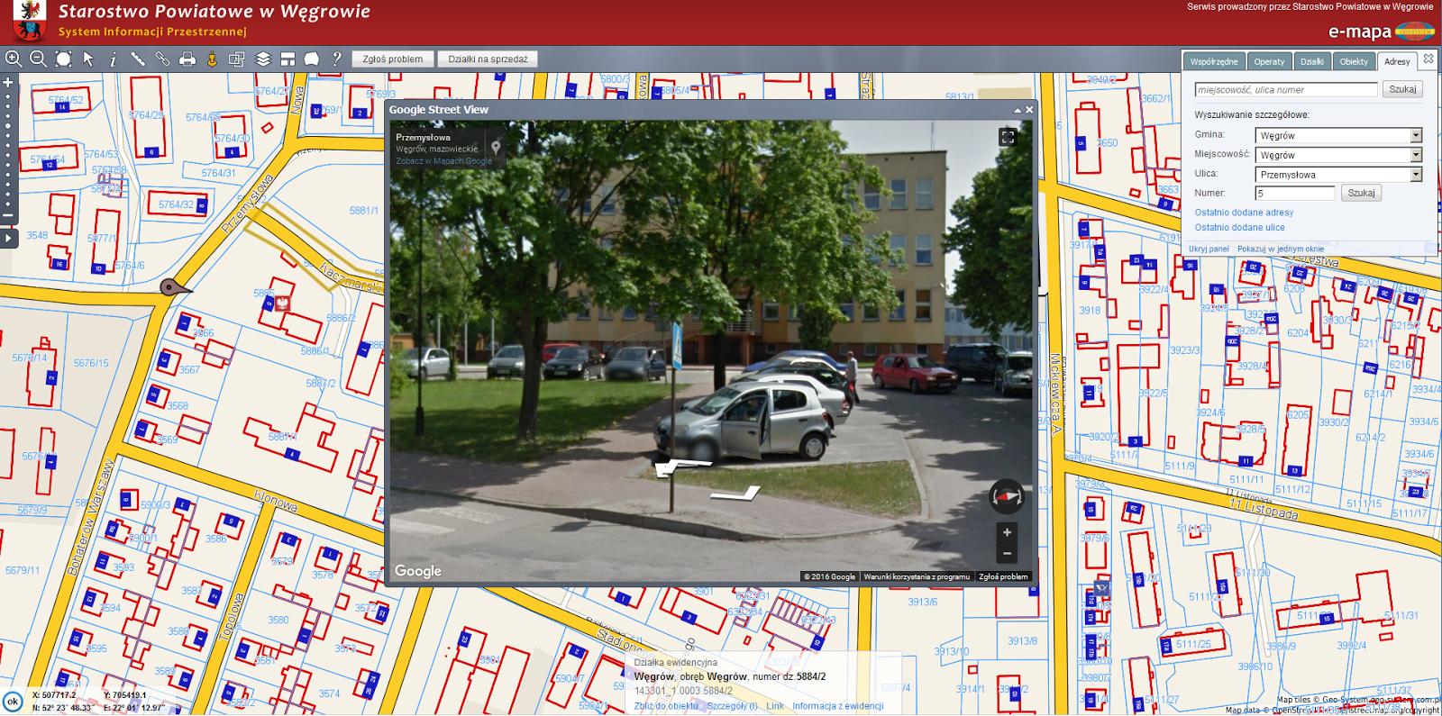 Geo System Sp. z o.o.: Powiatowy portal mapowy w powiecie węgrowskim #BD970E