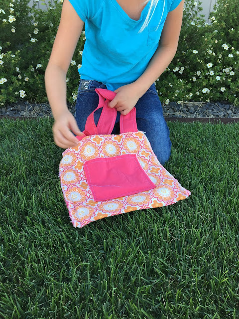 Teaching young kids to sew.  Girls and Boys with a simple bag