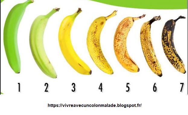 étapes de mûrissement de la banane : de non mûre à très mûre