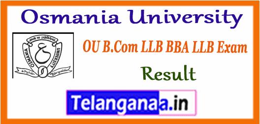 Osmania University (OU)B.Com LLB & BBA LLB Exam Results