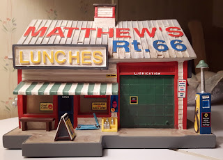 A light up village building piece from Route 66.