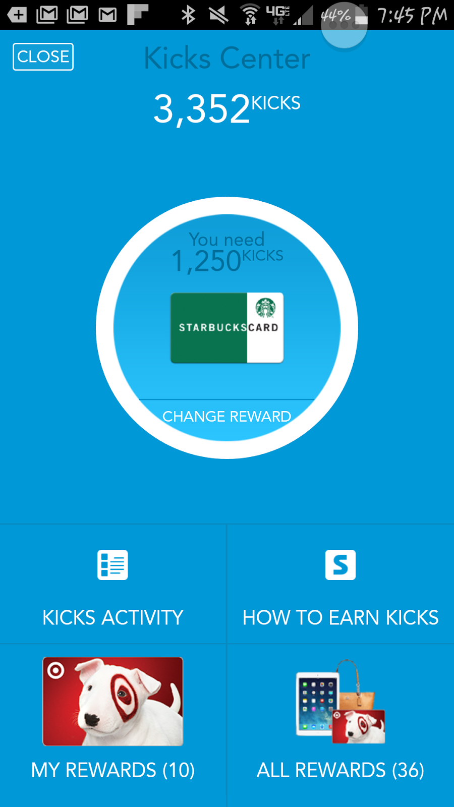 shopkick app kicks showing kicks and target my rewards and all rewards option