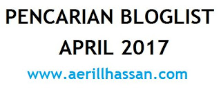 Senarai Peserta Pencarian Bloglist April 2017 by www.aerillhassan.com