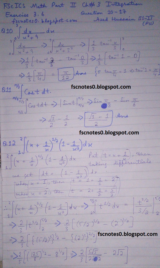 FSc ICS Notes Math Part 2 Chapter 3 Integration Exercise 3.6 question 10 - 17 by Asad Hussain