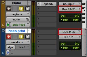 Print convert a MIDI track to an audio track.