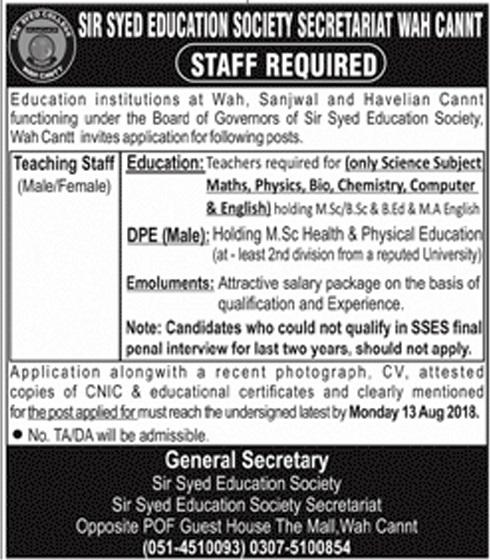 Teachers Jobs in Sir Syed Eudction Society Saretariat Wah Cantt
