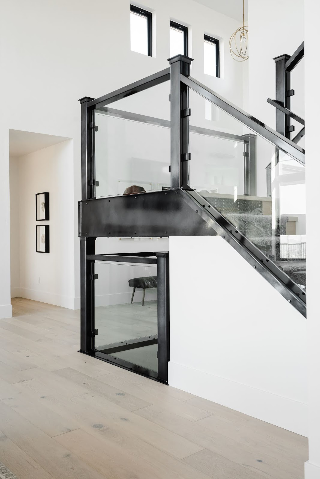 Industrial Staircase, Glass Staircase, Utah home Design