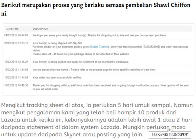 proses yang berlaku semasa pembelian Shawl Chiffon